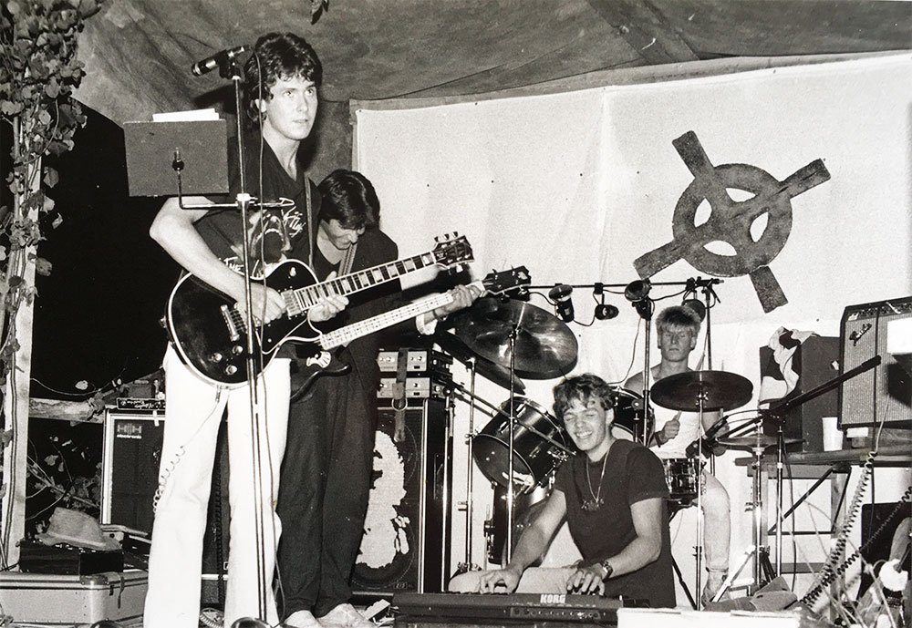 Am Anfang, ca. 1984. Wolfi Mayr, Ingo Mayr, Stefan Obertaler, Hugo Gitterle